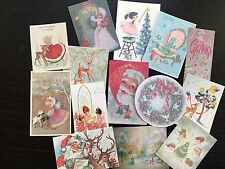 BB63 Lot of 14 Adorable VINTAGE & VICTORIAN CHRISTMAS GREETING DIE CUTS 4 crafts