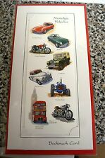 NOSTALGIC VEHICLES,BOOKMARK CARD BLANK WITH NO MESSAGE,LAND ROVER,BUS,MORRIS1000