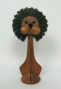 "VTG 1950s MID CENTURY TEAK LION MADE IN ITALY 7 1/4"" TALL BRUSH HEAD"