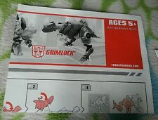 TRANSFORMERS ANIMATED GRIMLOCK INSTRUCTION BOOKLET ONLY