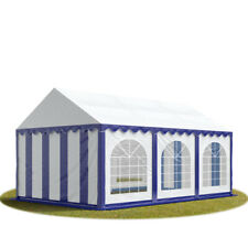 Marquee 4x6m blue white PVC 500g/m² party tent waterproof with ground frame