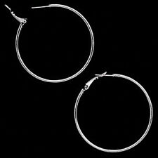 Stainless Surgical Steel Large Hoop Earrings 2 Inch ...Chic Silver Look ...