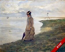 WOMAN BY THE SEASIDE VICTORIAN ERA 19TH CENTURY PAINTING ART REAL CANVAS PRINT