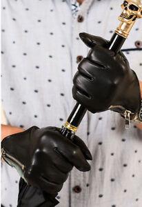 man new side zipper whole piece best Italy leather lambskin gloves black
