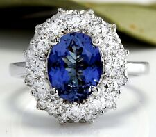 3.55 Carats NATURAL TANZANITE and DIAMOND 14K Solid White Gold Ring