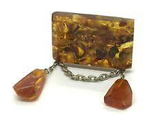 Old Vintage Amber BROOCH Antique Pressed Natural Baltic Amber Beads 18,5g 9987