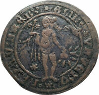 1500-1550 ANTWERP Low Countries Venus Penny Jeton Bird OLD Genuine Coin i82180