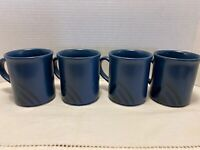 "Four (4) Large Pfaltzgraff ""Morning Light"" Dark Blue Triangle Mugs"