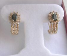 14K YELLOW GOLD SAPPHIRE AND DIAMOND EARRINGS 4.9 GR
