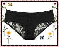 L  Large BLACK Victorias Secret Ruched FULL Back Lace Stretch Hiphugger Pantie