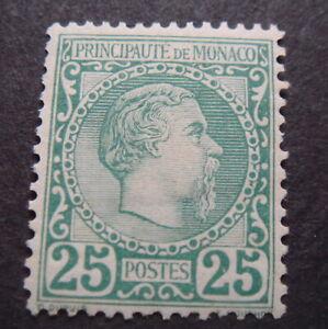 Monaco 1885 Sg6 25c green MH mint some adhesion £750