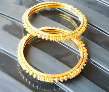 indian yellow gold plated  bangles LARGE SIZE H170   SET OF 2 jewelry.
