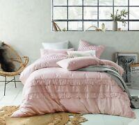 Boho Blush Tassels Linen Cotton Quilt Doona Cover Set - Queen King Super KB