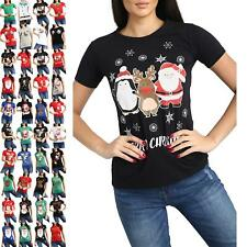 Ladies Christmas Xmas Elf Belt Buttons Costume Womens Cap Sleeve Top T Shirt
