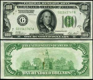 FR. 2151 G $100 1928-A Federal Reserve Note Chicago G-A Block CU DGS Foreign