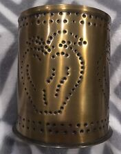 NEW Tin Punch Jar Candle Pillar Holder - Apple Design Country