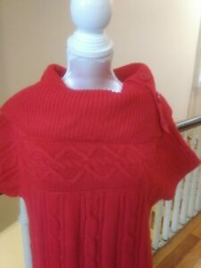 VGC NEW DIRECTIONS RED SWEATER DRESS sz MED A99