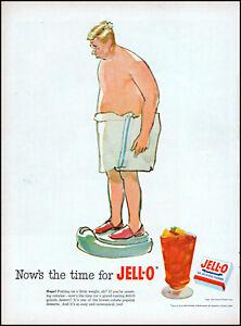 1952 Fat man weighing in bath towel Jell-O gelatin diet retro art print ad L82