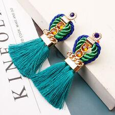 Fashion Boho Crystal Long Tassel Thread Earrings Women Bohemia Jewelry