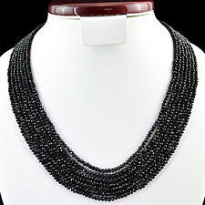 AAA 245.00 CTS NATURAL 6 STRAND ROUND FACETED RICH BLACK SPINEL BEADS NECKLACE