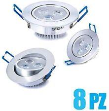 8x faretti led da incasso per cartongesso 3w luce fredda Lampada a risparmio en.