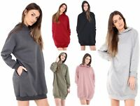 WOMENS HOODED OVERSIZE BAGGY LONG SLEEVE SWEATSHIRT LADIES TOP SIDE POCKETS 8-16