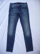 SEVEN SISTERS Jeans 30 Skinny London Fashion Cross Pattern Medium Wash Denim