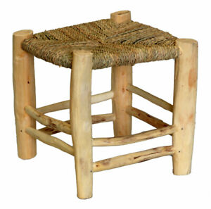 Rattan Wicker Foot Stool Ottomans Child Seat Stand Hand Made Retro Hobo