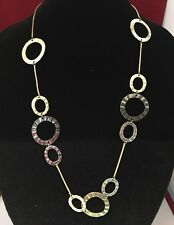 Hammered Silver Gold and Gunmetal Hoops Rings Statement Necklace