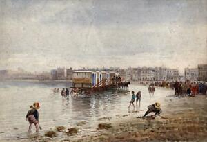 FIGURES ON COASTLINE AT MARGATE Antique Watercolour Painting - 19TH CENTURY