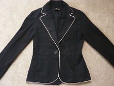 Jane Norman size 8 black jacket, blazer, pink trim, cotton blend