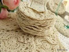 "1 DOZEN (12) -Vtg Crochet Cotton Doily Coaster Cup Cover Goblet Rounds 3.5"" Ecru"