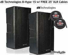 (PAIR) dB Technologies B-Hype 15 2way Active PA Speakers w/ FREE 25' XLR Cables