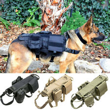 Molle Tactical Dog Coat Adjustable K9 Training Harness w/ 3 Pouch for M L XL Dog