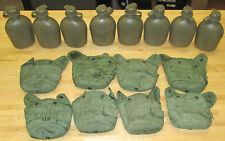 (8) US MILITARY 1 QT CANTEENS,  OLIVE GREEN COVERS ~USED~