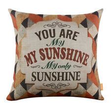"""18""""X 18"""" Burlap Decorative Throw Pillow Cover Cushion Case You Are My Sunshine"""