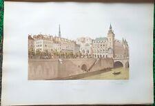 Paris IV ème - Quai aux Fleurs (1855) - Hoffbauer Superbe Litho 45x30 cm de 1885