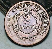 1866 Two Cent Piece 2C Ungraded Choice Good Civil War Era US Copper Coin CC6912