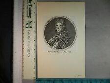 Rare Antique Orig VTG 18th Century Eugene Prince Of Savoy Engraving Art Print