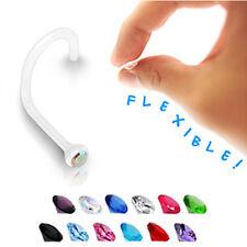 1,0mm PTFE Nasen Piercing Stecker Spirale mit Kristall flexibel fast Unsichtbar
