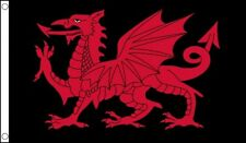 3' x 2' Wales Red Dragon on Black Flag Welsh Cymru Independence Flags Banner