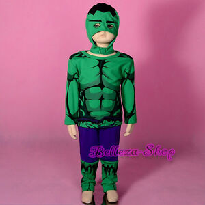 Superhero Incredible Hulk Avenger Fancy Costume Mask Outfit Halloween Sz 2-7 033