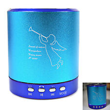 Portable Bluetooth Mini Speaker T-2020A 2CH w/FM Radio TF USB Mic Line-in Blue