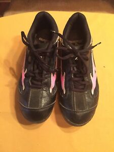 Mizuno Spike Black Youth Lace-Up Plastic Cleats Shoes Size W7.5