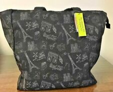 Black Double Handle Cloth Hand Bag Eiffel Paris and Other Paris Things Printed