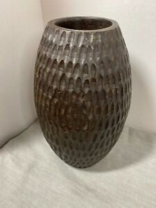 "Mid Century Carved Wooden Vase 11"""