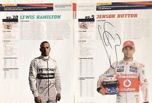 LEWIS HAMILTON JENSON BUTTON  AUTHENTIC SIGNED F1 MAGAZINE PAGE AFTAL#198
