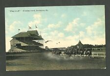Pre 1915 Unused Postcard They're Off Trotting Track Lexington Kentucky Horse