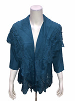 Dennis Basso Women's Woven Perforated Drape Front Cardigan Blue X-Small Size