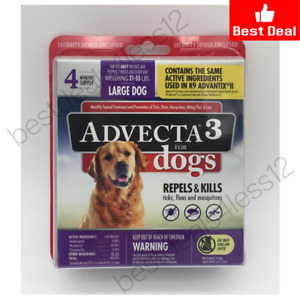 Advecta 3 Flea & Mosquito Repellent for Large Dog 21-55 Lbs 4 Months Supply